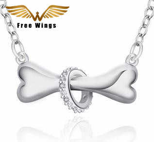 Silver 925 Necklaces Dog Bone Fashion Women Jewelry Necklaces Chokers  Pendant Necklaces & Pendants For Women Lovers  Gifts