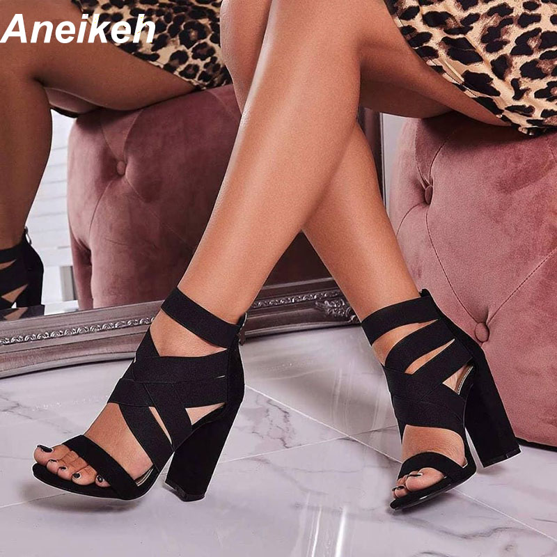Aneikeh 2020 Gladiator Sandals Fashion Women Sandals High Heels Open Toe Ankle Strap Elastic Band Shoes Size 35-40 Pumps Black