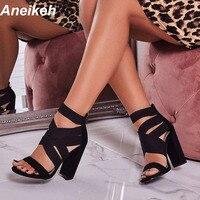 Aneikeh/2019 г.; сандалии-гладиаторы; Модные женские босоножки; обувь на высоком каблуке с открытым носком и ремешком на щиколотке; обувь с эластич...