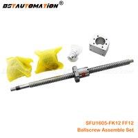 1605 Ball screw SFU1605 FK12 FF12 DSG16H Nut housing Coupling Set 300mm 400mm 500mm 600mm 750mm 800mm 900mm 1000mm 1200mm 1500mm