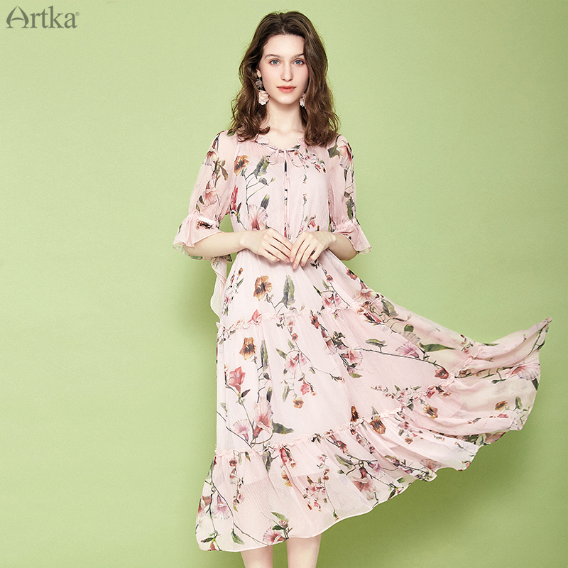 ARTKA 2019 Summer Women Dresses Floral Print V Neck Dress Elegant Ruffled Dress High Waist Chiffon
