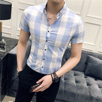 2018 Summer New Social Men Short sleeved Plaid Shirt Slim Fashion Business Casual Wild Temperament Trend Professional Wear