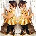 Мода Девочка Малышей Устанавливает Рубашка Dress Legging Брюки Установить Детские Детская Одежда Устанавливает Костюмы для Детей Девушки Летней Одежды