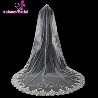 AOLANES Wedding Accessories 3 M Quality Elegant Wedding Veil Birdcage Ivory Bridal Veils Lace Edge 2018 New Arrival Veu De Noiva