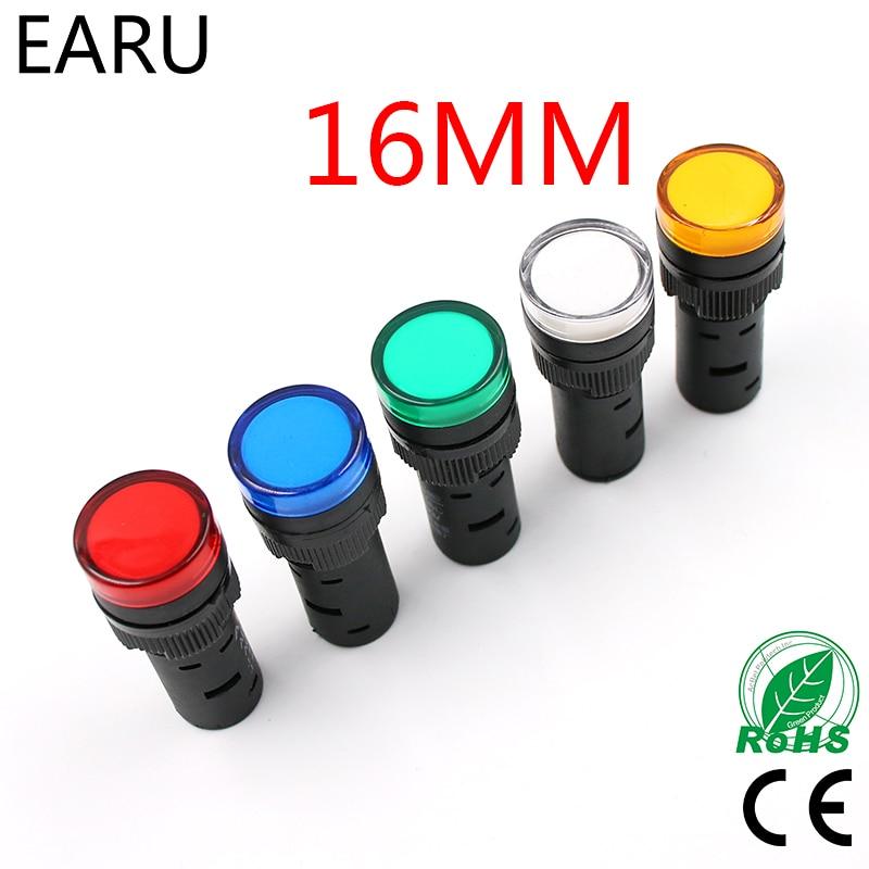 цена на Indicator Signal Lamp Light Waterproof ad16-16ds 16mm AC/DC 12V 24V 110V 220V 380V Red Green Yellow Blue White LED Bulbs 20mA