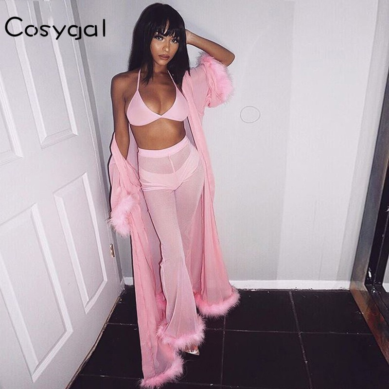 2019 Autumn Feathers Sexy See Through 2 Piece Set Women Two Piece Outfits Elastic Two Pieces Set Club Outfits Festival Clothing