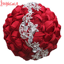 WifeLai 1 pc ワイン赤シルクローズ蝶ダイヤモンドブローチの結婚式のブーケ花嫁マリアージュ花ステッチ結婚式のブーケ w2216