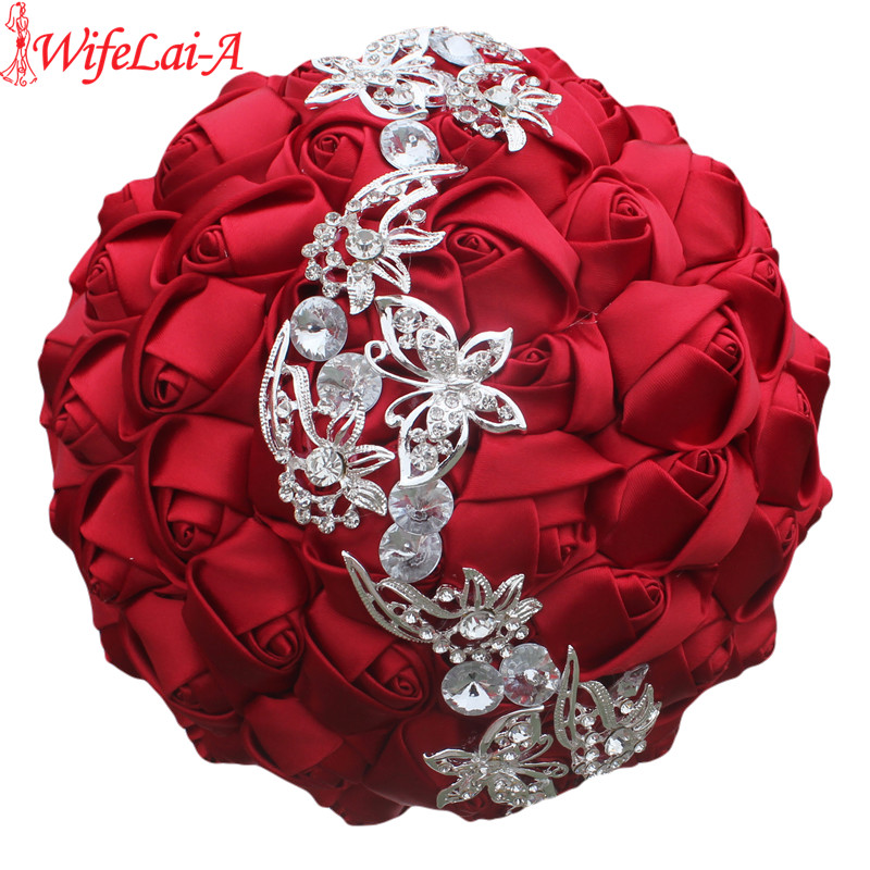 WifeLai-A 1pc Wine Red Silk  Rose Butterfly Diamonds Brooch Wedding Bouquet Bridal Mariage Flower Stitch Wedding Bouquet W2216
