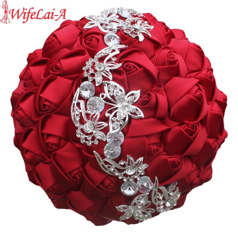 WifeLai-A 1pc 와인 레드 실크 로즈 버터 플라이 다이아몬드 브 로치 웨딩 부케 신부 Mariage 꽃 스티치 웨딩 부케 W2216