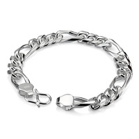 Men's 925 sterling silver link chain bracelet 8 inches 10mm