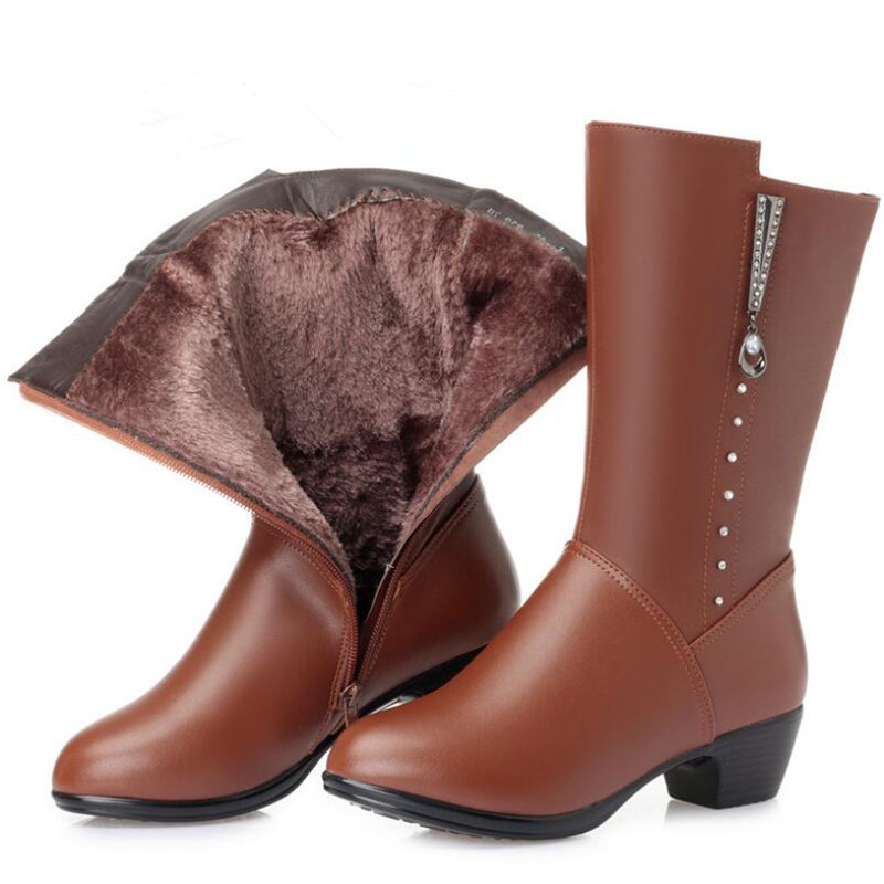 Kuh Inside Neue Wool In brown black Samt brown Warme Und Strass Plus Plush Mode Frau Rohr Stiefel Plush 2018 Winter Niedrigen Schuhe Absätzen Wolle Leder Black Wool Btq1qdHw