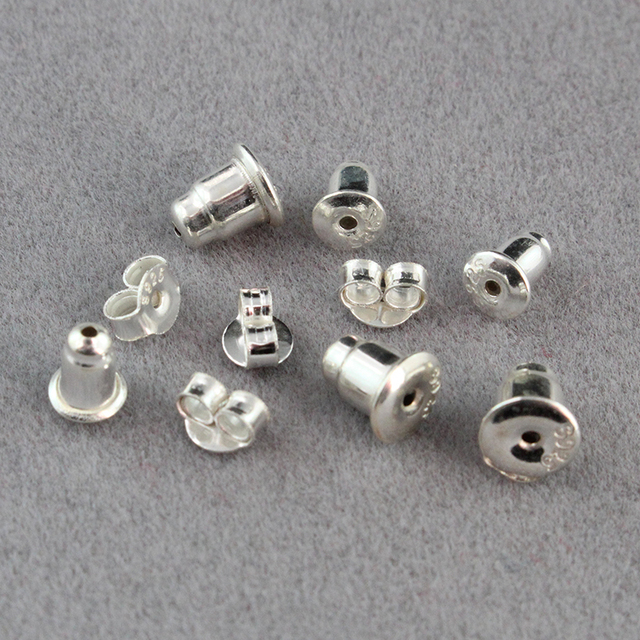 925 Sterling Silver Earring Nuts Stoppers Backs Backers Bullet Clutch For Posts