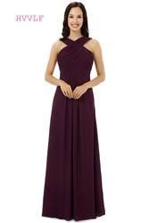 Дешевые 2019 платья подружки невесты до 50 трапециевидной формы Холтер длиной до пола шифон плиссированные фиолетовые длинные свадебные