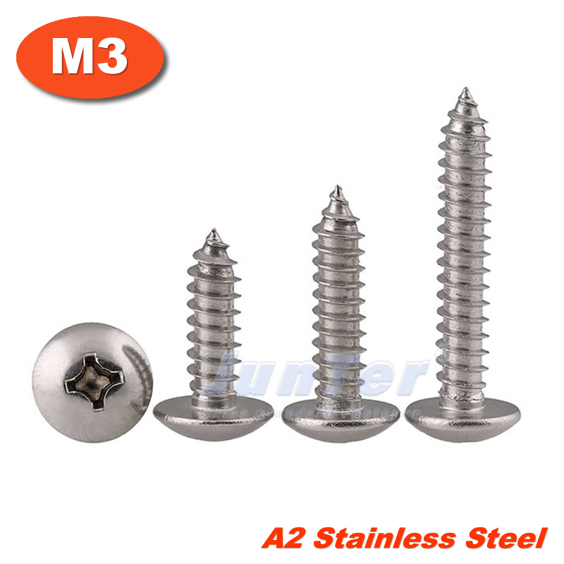 100pcs/lot M3(3mm) A2 Stainless Steel Phillips Truss Head (Cross Recessed Mushroom Head) Self Tapping Screws 100pcs lot m3 truss head self tapping screw steel with black m3 6 8 10 12 16 20 25 30