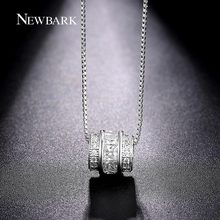 NEWBARK Classic Permanent Necklace White Gold Plated Channel Set CZ Necklaces & Pendants Jewelry Slide Vintage Collier