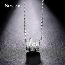 NEWBARK Classic Permanent Necklace White Gold Plated Channel Set CZ Necklaces & Pendants Jewelry Slide Vintage Collier