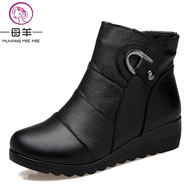 MUYANG MIE MIE Women Boots 2017 Fashion Shoes Woman Genuine Leather Wedges Ankle Boots Winter Casual Snow Boots Women Shoes