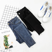 JUJULAND Jeans Women Black Pants High Waist Denim Elastic Skinny Pencil Stretch Plus Size S-XL 8170