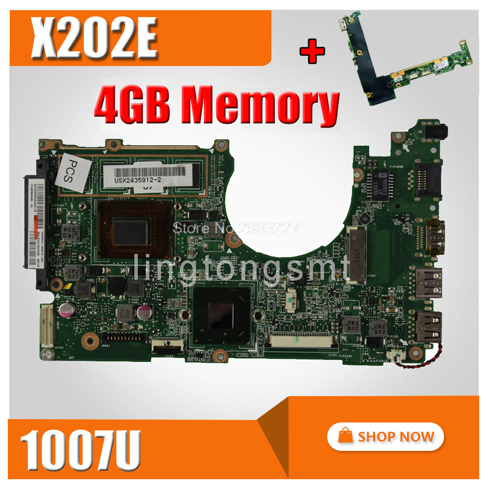 send board+X202E Motherboard 4GB REV 2.0 1007 CPU For ASUS X201E S200E Laptop motherboard X202E Mainboard X202E Motherboard x202e q200e s200e x201e x202 dh31t laptop motherboard for asus 60 nfqmb1b01 a08 1 8ghz sr0n9 i3 2365m cpu board