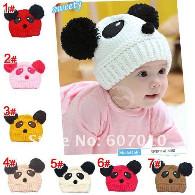 Winter the New 100% Cotton warm Baby Princess hat panda double ball hat knitted hats for children (7 colors)