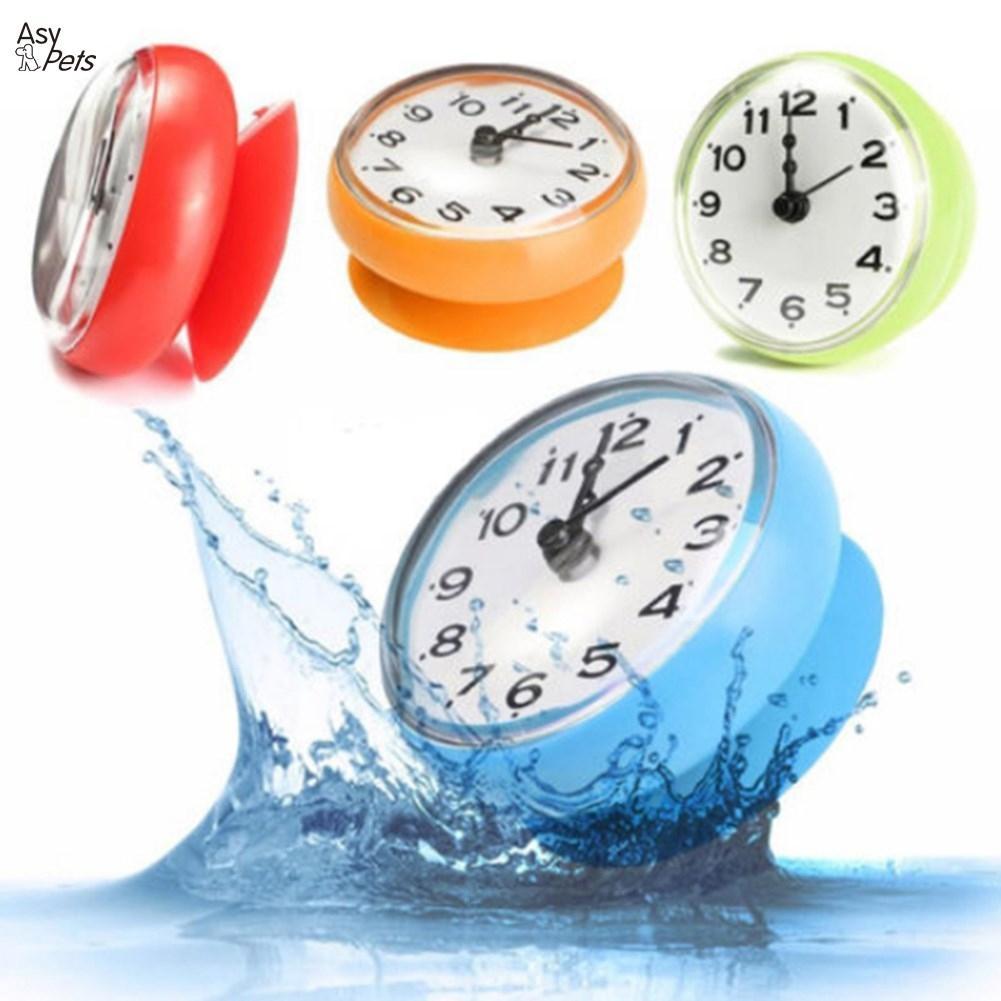 AsyPets Mini Waterproof Electronic Wall Clock Anti-mist Kitchen Bathroom Single-sided Hanging Quartz Clock-20