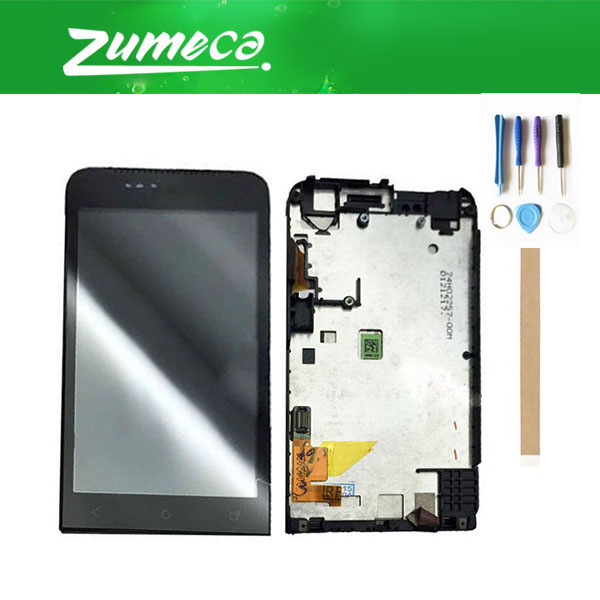 3.7 Inch For HTC ONE V T320e G24 LCD Display Screen+Touch Screen Digitizer Assembly With Frame Black Color+Tape&Tool