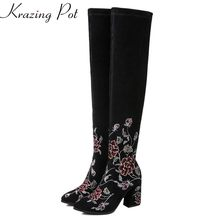 Krazing Pot cow suede zipper embroidery superstar keep warm winter boots sweet runway high heels flower over-the-knee boots L71