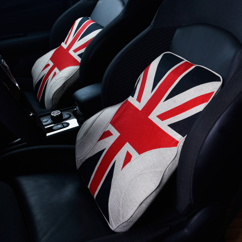 Union Jack Auto Car Seat Waist Supports Cushion Pad Universal for BMW Mini Cooper Countryman Clubman