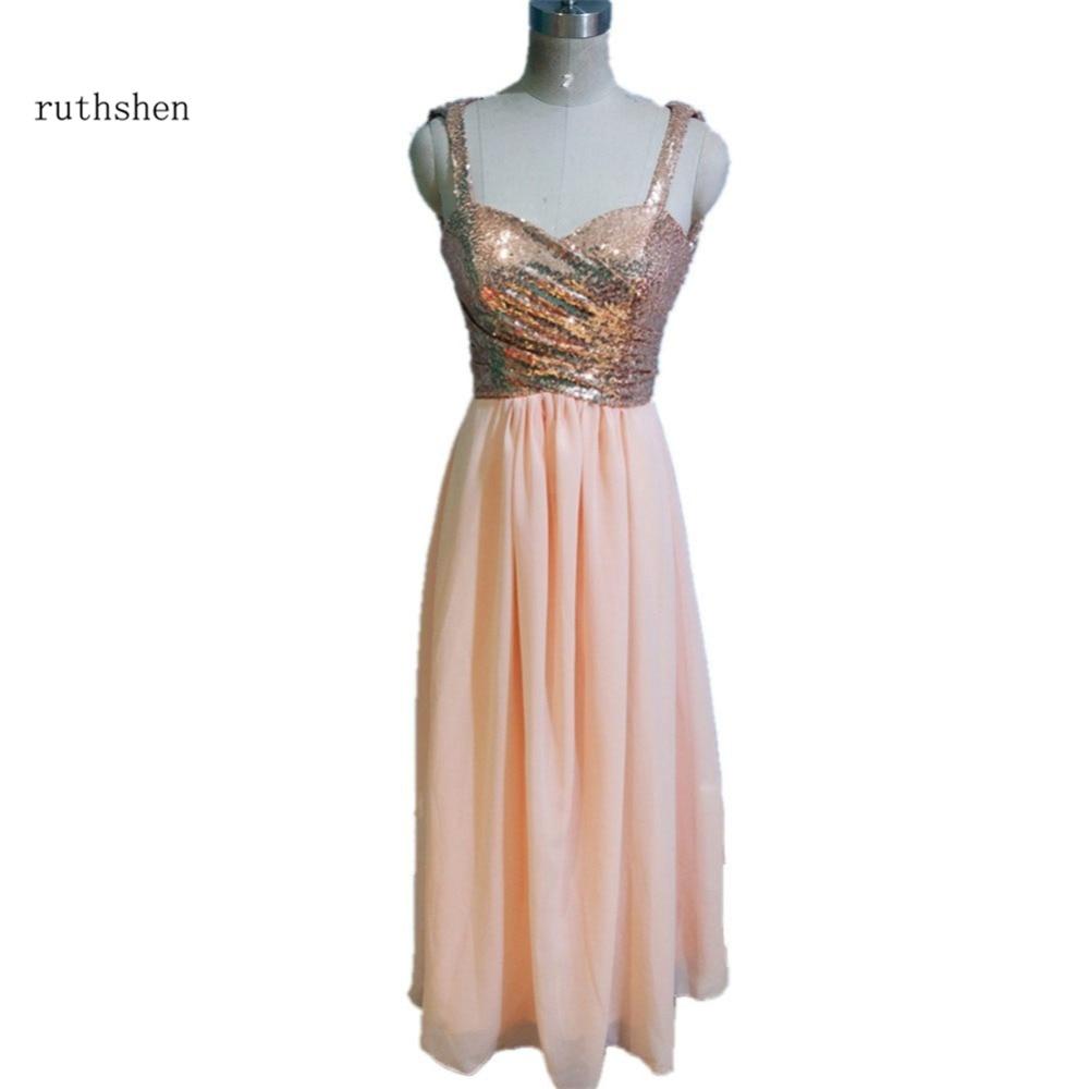 Ruthshen Spaghetti Straps Long Bridesmaid Dresses Cheap