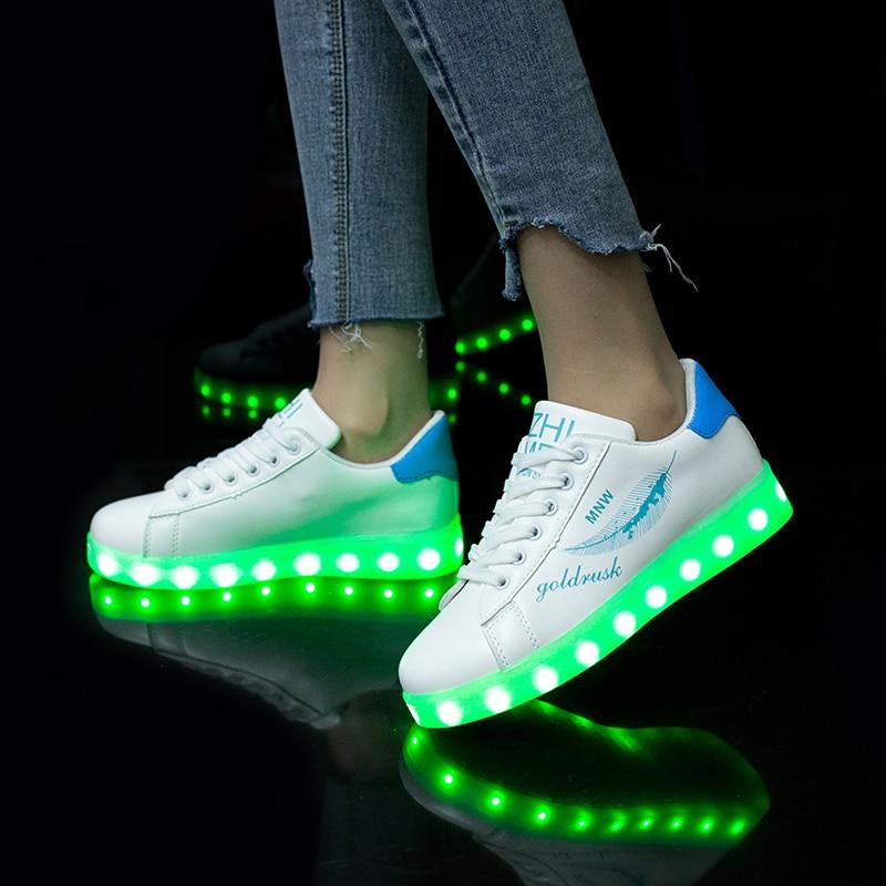 7ipupas New Cool tide Colorful led glowing shoe USB Charge Light up Children Shoe Boy Girl Men Women Tennis Kid Luminous Sneaker