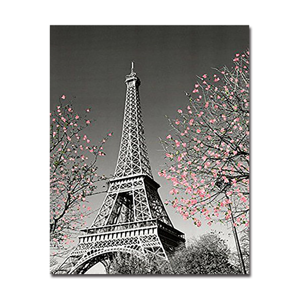 Paris Tower DIY Oil Painting By Numbers Drawing Coloring Abstract Scenery Pictures On Canvas For Living Room Wall Art Home Decor in Painting Calligraphy from Home Garden