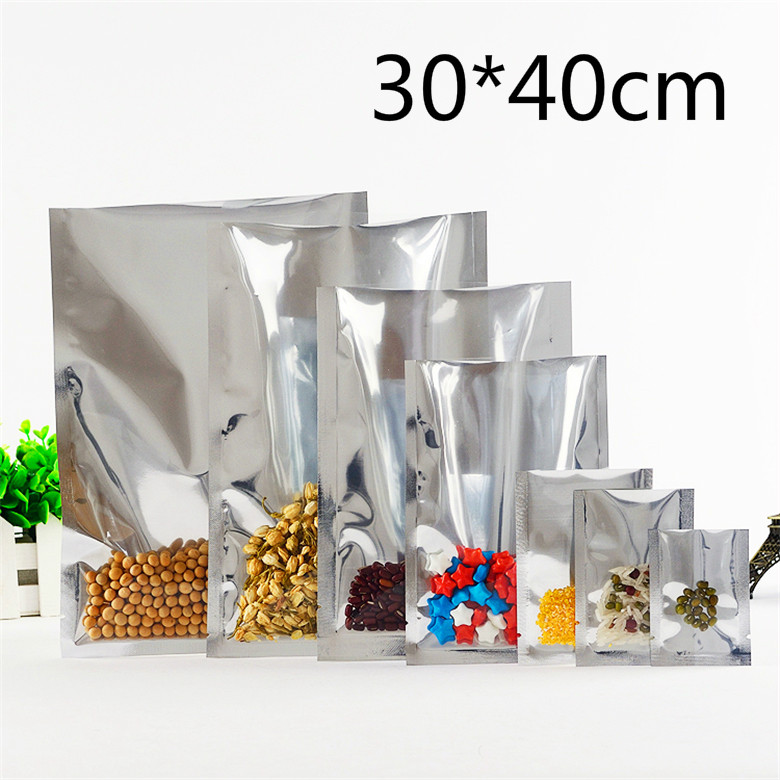 30*40cm 50Pcs/Lot Open Top Silver Aluminium Foil Clear Plastic Pack Bag Vacuum Pouches Heat Seal Bag Food Storage Packaging Bags