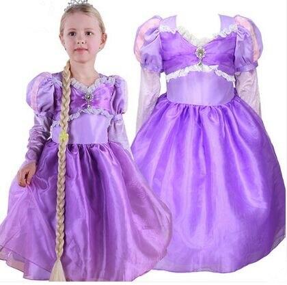 Robe de fête d'anniversaire pour filles robe de princesse pourpre pour filles costume de princesse enfants raiponce emmêlée belles robes de princesse