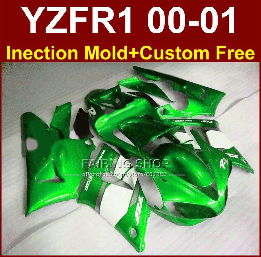 Зеленый exup пользовательские обтекатель для YAMAHA Обтекатели YZFR1 2000 2001 YZF 1000 YZF R1 00 01 ABS пластик Кузов Aftermarket + 7 подарки
