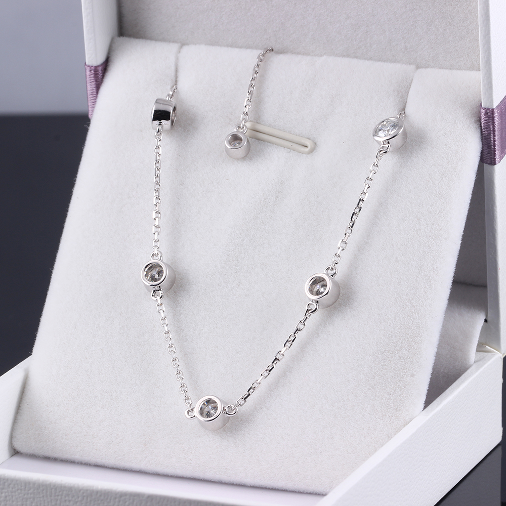 Trendy Style Solid 18K 750 Real White Gold 1.35 ct F Color Lab Grown Moissanite Diamond Bracelet Test Positive For Women jinhui 18k 750 0 05 ct jh bs1380