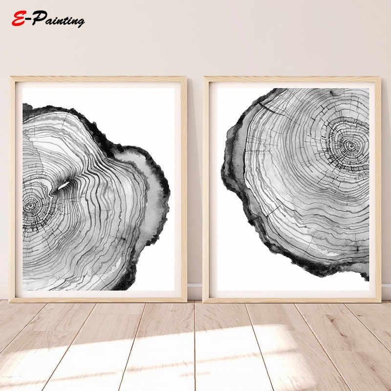 Modern duvar sanatı ağacı yüzük yazdırılabilir tuval boyama çotuk ahşap dilim baskı posterleri siyah ve beyaz İskandinav oturma odası dekor