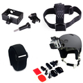 4 In 1 Kit For Gopro Accessories Head Mount Strap+Frame Mount+Wrist Strap+Helmet Mount For Gopro Camera Hero 4 Action Sports