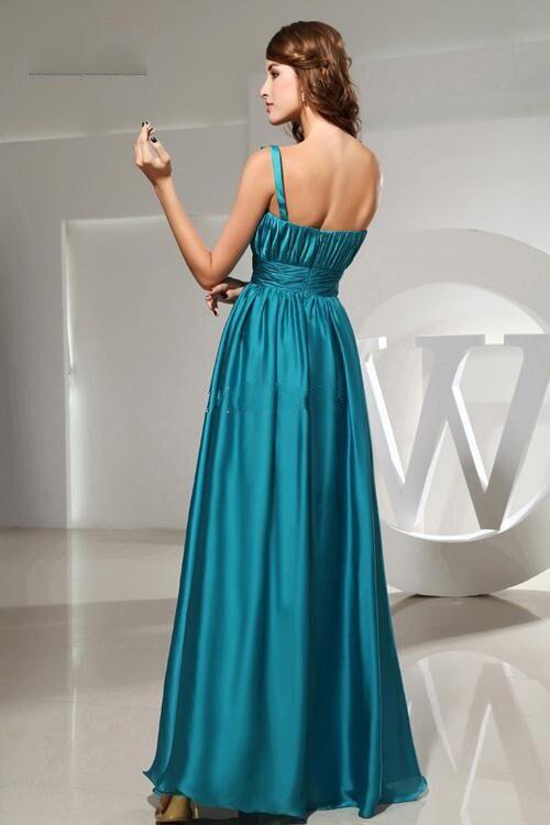 Пляж пром платья один плечо с оборками и вручную- сделано цветы минимальный уровень длина атлас длинная вечерние платья - Цвет: Зеленый