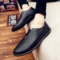 Versão coreana de sapatos masculinos pedal preguiçoso pequeno doug sapatos de negócios homens de couro mocassins sapatos flats