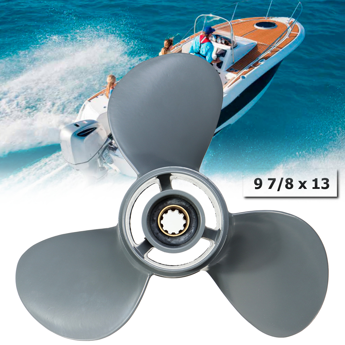 58130-ZV7-013AH 9 7/8 x 13 Aluminum Alloy Boat Outboard Propeller For Honda 25-30HP Gray 3 Blades 10 Spline Tooths R Rotation цены онлайн