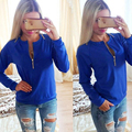 Fashion Shirt Women Long Sleeve Zipper Deep V Neck Stretch Tops Blusa Sexy T-Shirt Spring Summer Tops Tee Shirt Femme