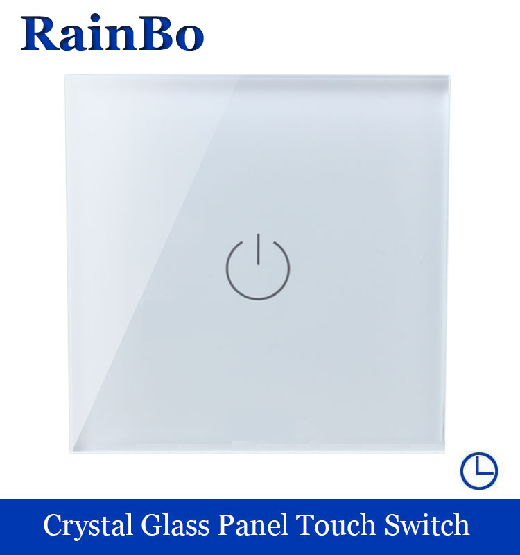 rainbo Crystal Glass Panel  Wall Switch EU Touch time Switch Screen Wall Light time Switch 1gang1way 110~250V 60S  A1911DSW/B 2017 smart home crystal glass panel wall switch wireless remote light switch us 1 gang wall light touch switch with controller