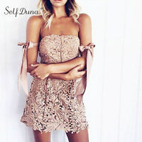 Self Duna 2017 Summer Women White Lace Mini Dress Off Shoulder Backless Strapless Pink Black Navy Lace Up Sexy Short Dress