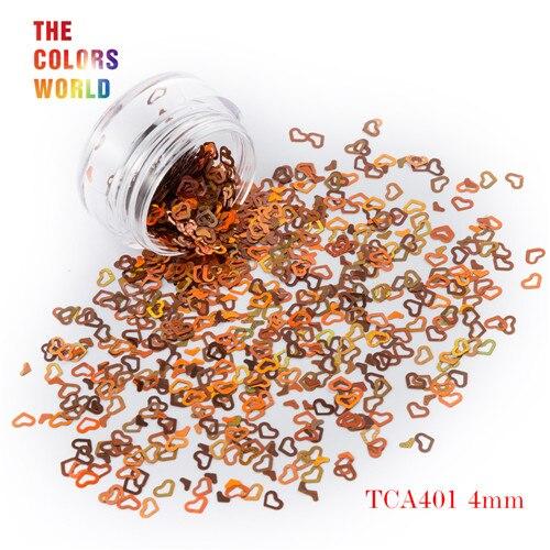 Tct-050 полые сердца Форма Лазерная красочные Глиттеры для ногтей 4 мм Размеры для ногтей Гели для ногтей украшения Макияж facepaint DIY украшения - Цвет: TCA401  50g