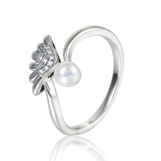 100% 925 Silver Rings Angel Wings Pearl Wedding Rings for Women Sterling-Silver-Jewelry  Rings Fashion Jewelry