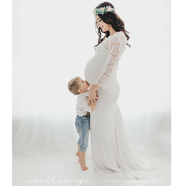 Off Shoulder Lace Top Maternity Photography Props Dress