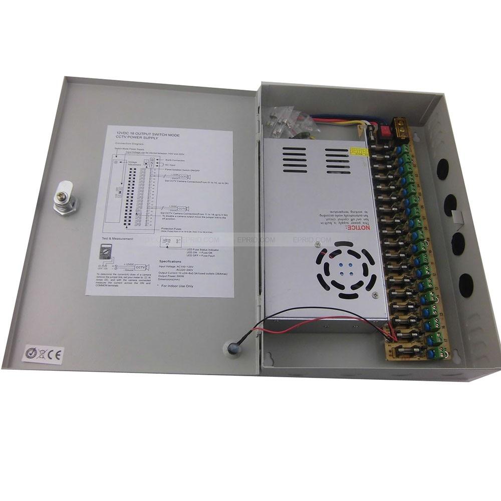 5PCS 18CH DC 12V 30A Output Power Supply Switch Box for CCTV Camera цена