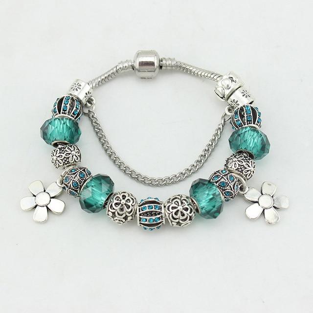 3a68a2c36b40 Los fabricantes que venden cristal pulsera joyas retro pulsera DIY conjunto  verde negruzco taladro flor colgante