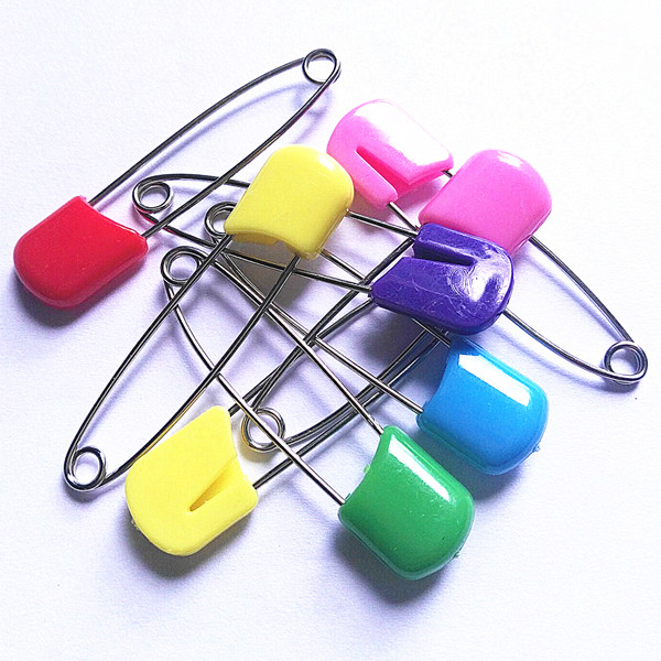classic safety pins for daily using items or garnet wearing accessories candy colors mix 40mm 54mm length