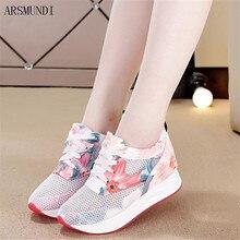 ARSMUNDI Hot Sale Women Sneakers Fashion Floral Lightweight Mesh Flat Shoes Spring Autumn Female Vulcanize Zapatillas M512